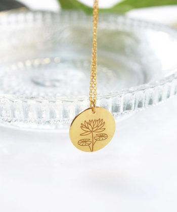Κολιέ ασήμι επιχρυσωμένο λουλούδι γέννησης - Ιούλιος