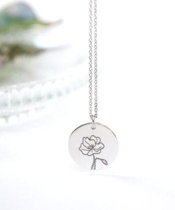 Κολιέ ασήμι λουλούδι γέννησης - Αύγουστος