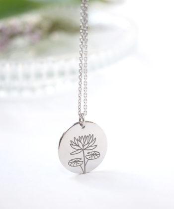 Κολιέ ασήμι λουλούδι γέννησης - Ιούλιος