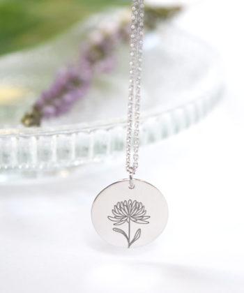 Κολιέ ασήμι λουλούδι γέννησης - Νοέμβριος