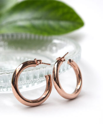 Σκουλαρίκια Κρίκοι Ασήμι Ροζ Γυαλιστερό